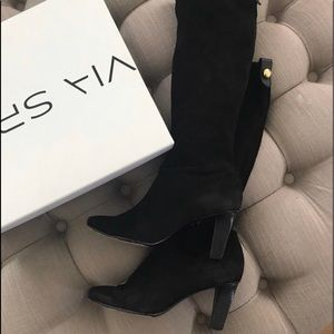 Black coach suede knee high boots w gold button
